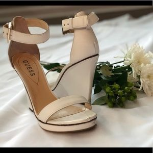 GUESS White Leather Wedges size 7